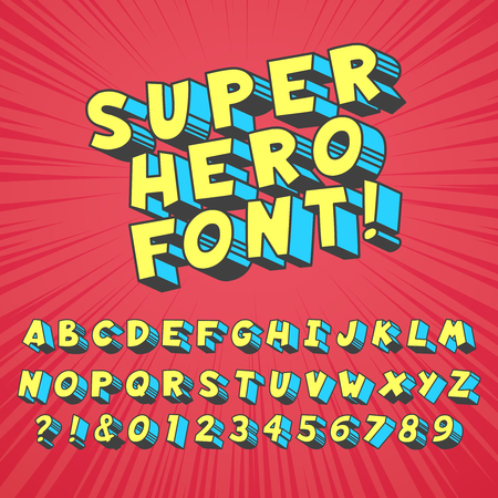 Super hero comics font. Comic graphic typography, funny supers heros alphabet and creative fonts letters symbol vector set 스톡 콘텐츠 - 120732411