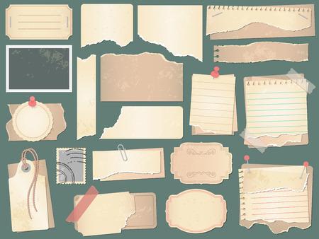 Vecchia carta per ritagli. Pagine di carta stropicciata, carte per album di ritagli vintage e ritagli di libri fotografici retrò. Scarto di carta, avviso antico o pagina memo artigianale grunge. Insieme dell'illustrazione di simboli isolati di vettore Vettoriali