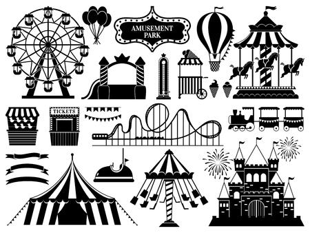 Vergnügungspark-Silhouette. Karnevalsparks Karussell-Attraktion, lustige Achterbahn- und Riesenrad-Attraktionen. Amuse-Zirkus-Karussell, Luftballon und Schloss. Isolierte Vektorsymbole gesetzt