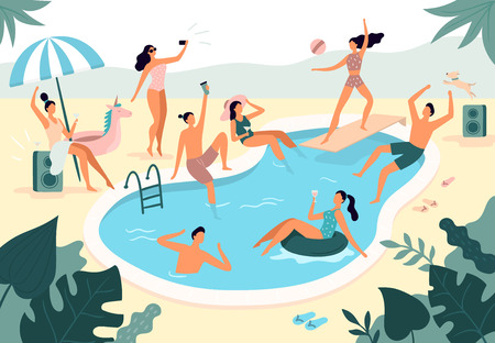 Swimming pool party. Summer outdoors people in swimwear swim together and rubber ring floating in pool water. Beach seaside swim party, pool vacation poster vector illustration