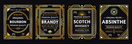 Art deco alcohol label. Vintage bourbon scotch, retro brandy and absinthe labels vector illustration 向量圖像