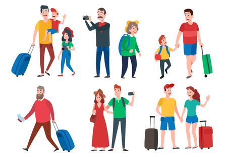 Travel characters. Travelling group, family couple holiday vacation and sightseeing travels tourists. Family leisure, travelling activities or resort vacations. Cartoon vector isolated sign set