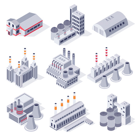 Isometric factory buildings. Industrial power plant building, factories warehouse storage and industry estate 3D vector set 矢量图像