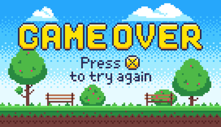 Game over screen. Retro 8 bit arcade games, old pixel video game end and pixels press X to try again sign. Pixelated failure scene or death and try again arcade gaming vector illustration