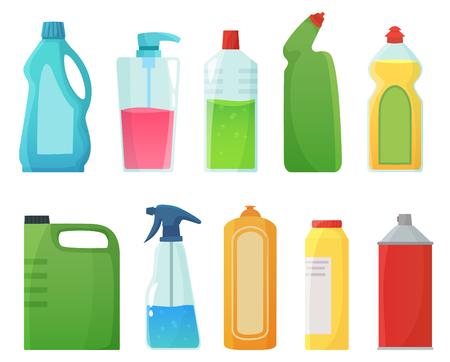 Bouteilles de détergent. Produits de nettoyage, bouteilles d'eau de Javel et contenants de détergents en plastique. Bouteilles ménagères, équipement de nettoyage de produits chimiques sanitaires. Jeu d'icônes isolées d'illustration vectorielle de dessin animé