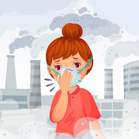 Girl wearing N95 mask. Young woman wear protect face masks, outdoor PM 2. 5 air pollution and breath protection. Health protective or air dust prevention face mask cartoon vector illustration
