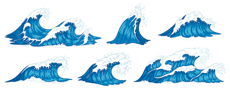 Ocean waves. Raging sea water wave, vintage storm waves and ripples tides hand drawn. Tsunami wave, ocean tide or marine surfing splash. Vector illustration isolated icons set