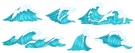 Sea wave. Vintage ocean waves, blue water tide and tidal wave hand drawn. Ocean tsunami, flowing sea surf storm splash or nautical storm motion. Vector illustration isolated sign set Illustration