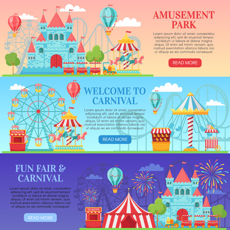Amusement park banner. Amusing festival attractions, kids carousel and ferris wheel attraction banners background vector illustration