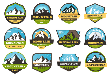 Mountain expedition emblems. Outdoors travel labels, mountains hiking sticker emblem and summer camping badges vector illustration set Vektoros illusztráció