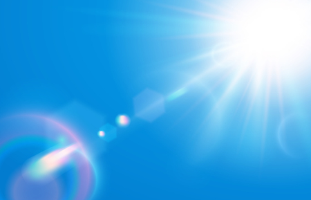 Sun in blue sky. Warm solar lens flare in clear skies, sunny day and sun light rays. Sunbeam ray, sunshine beam sparkle or peace sky vector illustration 免版税图像 - 123863593