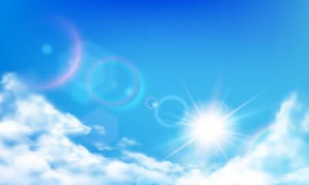 Cielo nublado. Sol brillante durante el día, nubes de día soleado y nubes realistas en el cielo azul. Sol en las nubes, cielo mullido cielo cielo realista vector ilustración de fondo Ilustración de vector