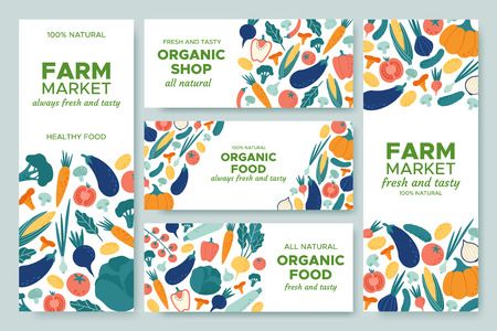 Banner vegetables. Fresh vegetable menu, organic food and natural products banners vector illustration set Vettoriali
