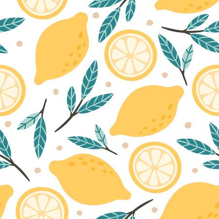 Seamless lemon pattern. Hand drawn doodle citrus mix, lemons slises and green leaves. Lemonade citrus postcard, lemon citruses drawing vector background illustration