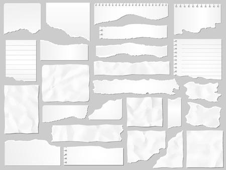 Papierschnipsel. Zerrissene Papiere, zerrissene Seitenstücke und Einklebebuch-Notizpapierstück. Texturseite, strukturiertes Memoblatt oder Notebook-Shred. Isolierte Zeichensatz der Vektorillustration