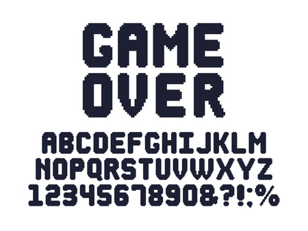 Computer 8 bit game font. Retro video games pixel alphabet, 80s gaming typography design and pixels letters. Digital pixel arcade font, pixelated letter and numbers vector set