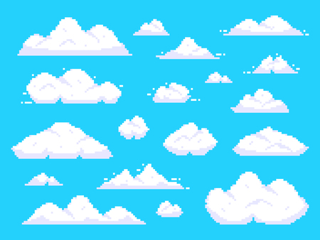 Pixel clouds. Retro 8 bit blue sky aerial cloud pixel art. Game sky clouds, pixilated aerial cloud animation scene. Background vector illustration isolated sign set Çizim
