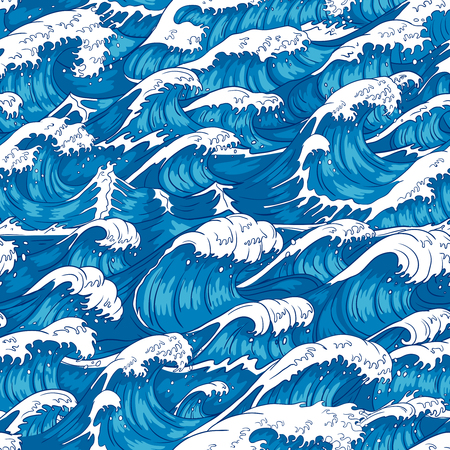 Storm waves seamless pattern. Raging ocean water, sea wave and vintage japanese storms print. Japan style storm drawn, marinene surfing splash wallpaper. Vector illustration background