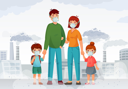 Family protection from contaminated air. People in protective N95 face masks, industry smoke and safe mask. Environment toxic gas pollution, nuclear factory danger cartoon vector illustration