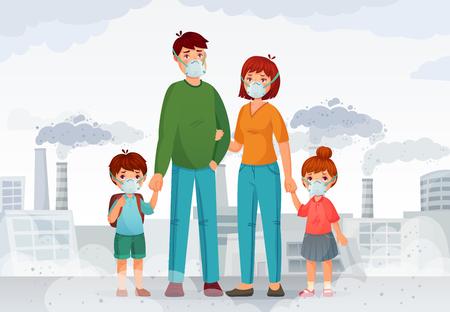 Protezione della famiglia dall'aria contaminata. Persone con maschere protettive N95, fumo industriale e maschera sicura. Inquinamento del gas tossico dell'ambiente, illustrazione di vettore del fumetto del pericolo della fabbrica nucleare