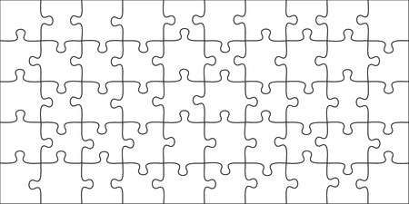 Puzzles pieces. 10x5 jigsaws grid, puzzle shape and join 50 piece game. onundrum scheme or team work success metaphor. Graphic vector illustration template