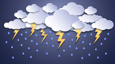 Summer thunderstorms. Storm clouds, thunderstorm lightning and rainy weather. Thunder and lightnings craft paper, dangerous thunderbolt flash meteorology vector illustration