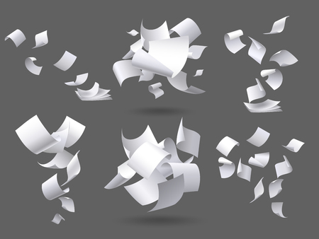 Falling paper sheets. Flying papers pages, white sheet documents and blank document page on wind. Fly scattered notes, empty chaotic paperwork. Isolated vector illustration signs set Banco de Imagens - 123692694