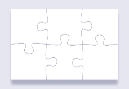 Jigsaw tiles. Puzzles grid, jigsaws details and connected puzzle pieces marketing business communication concept. Team compare metaphor vector template Illustration