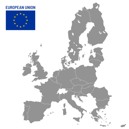 European Union map. EU member countries, europe country location travel maps. Political globe EU member atlas map, cartography vector illustration