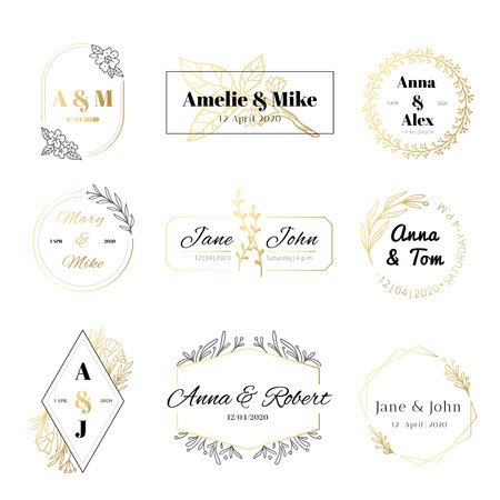 Wedding invitation labels. Minimalist floral leaves frames, elegant golden marriage card and save the date gold label. Greeting wedding calligraphy laurel label. Isolated symbols vector set