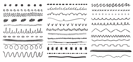 Hand drawn line. Ink pen drawing lines, underline brush and pencil strokes brushes. Frame dividers line, wedding ornament scribble border doodles. Vector isolated elements set