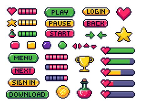 Botones de juego de píxeles. Interfaz de usuario de juegos, flechas del controlador de juegos y botón de píxeles de 8 bits. Elementos mágicos de pixel art del juego, barra de vidas digital pixelada y botón de menú. Conjunto de símbolos vectoriales aislados Ilustración de vector