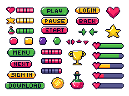 Pixel game buttons. Games UI, gaming controller arrows and 8 bit pixels button. Game pixel art magic items, digital pixelated lives bar and menu button. Vector isolated symbols set Illustration