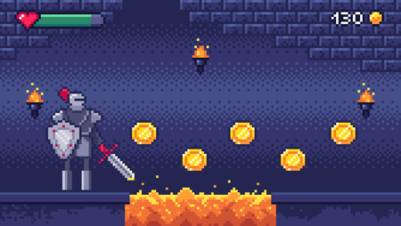 Retro computer games level. Pixel art video game scene 8 bit warrior character collects gold coins. Gaming pixelated platform arcade level. Pixels gaming fantasy vector illustration