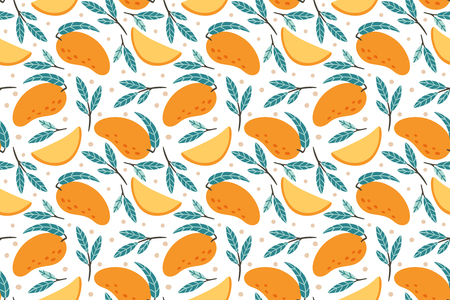 Seamless mango pattern. Hand drawn doodle gourmet sweet mangoes. Juicy sweet tropical exotic mango fruit wrapping paper vector background illustration