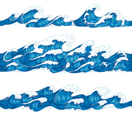 Seamless ocean waves. Sea surf, decorative surfing wave and water pattern hand drawn sketch. Japanese style waves or japan marine tsunami. Nautical isolated vector illustration set