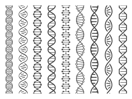 Seamless DNA spiral. Adn helix structure, genomic model and human genetics code. Genome alteration, chemistry adn gen research. Vector isolated illustration set