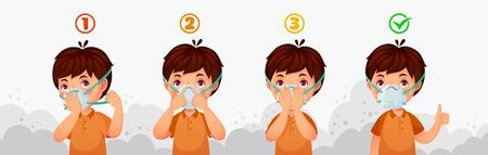 Masker N95 instructie. Bescherming tegen luchtvervuiling door kinderen, stofbeschermende veiligheidsademhalingsmaskers en PM2.5-bescherming. Jongenskarakter draagt vuile smog lucht veiligheidsmasker cartoon vectorillustratie