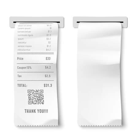 Realistic printed check. Transaction receipt, payment bill and financial checks. Shop transaction record, shopping purchase ticket or payment retail check. Isolated 3D vector illustration
