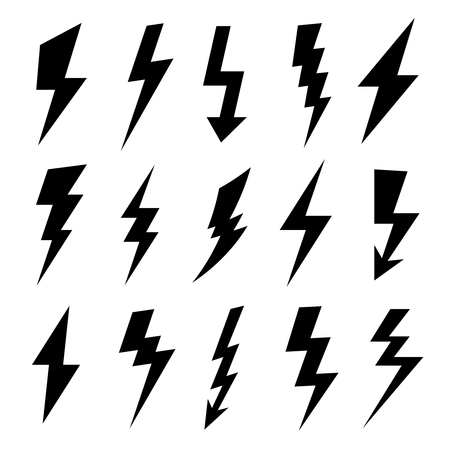 Thunderbolt silhouette. Electrical flash icon, electric high power voltage and thunder lightning silhouettes icons vector set