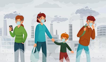 City air pollution. Smog pollutants, suffocation environment and passer in breathing masks. Environmental pollutants, character in smoke mask or factory polution fumes cartoon vector illustration Illustration
