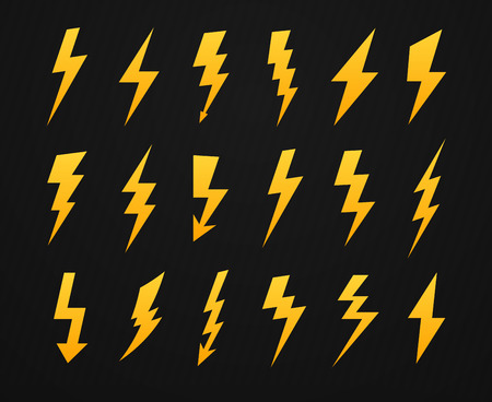 Yellow lightning silhouette. Electrical power high voltage, thunderbolt flash and energy lightnings silhouettes icons vector set