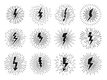 Vintage thunderbolt sign. Retro energy burst, lightning starburst and lightnings blitz flash hipster signs vector illustration set