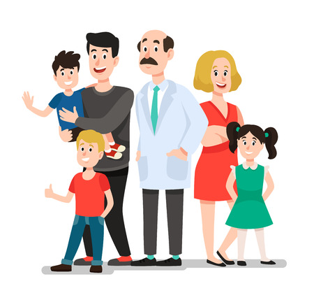 Family doctor. Smiling happy patients family portrait with dentist, smiling healthy children. Pediatrics doctors caring, patients family standing with doctor cartoon vector illustration