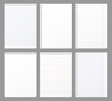 Notebook sheet. Sheets torn from notebook, paper note lined page and copybook notepad padded paper. Office memo notes blank or sketchpad. Isolated vector realistic illustration 3D icons set