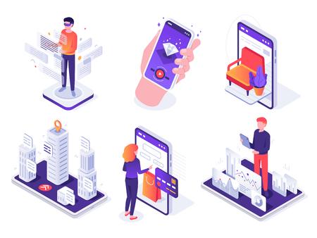 Isometrisches Augmented-Reality-Smartphone. Mobile AR-Plattform, virtuelles Spiel und Smartphones 3D-Navigation. Zukünftige Kommunikationsressourcentechnologie. Vektorkonzept lokalisierte Ikonen-Illustrationssatz