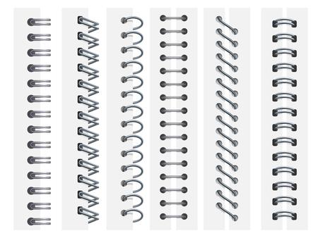 Spirali del taccuino. Rilegatura ad anelli per quaderni, fogli con chiusura a spirale e rilegatura per album da disegno. Raccoglitore a spirale per calendari, organizer o agende. Insieme di segni di illustrazione vettoriale realistico 3d