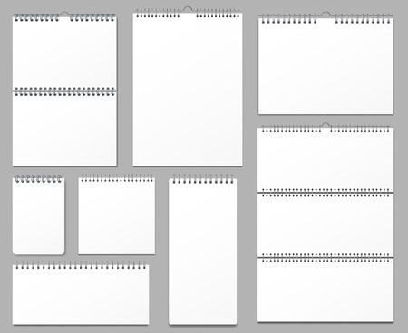 Maquette de calendrier. Calendriers muraux reliés sur spirale en métal, page de notes suspendues et pages de cahier. Maquette de date de calendrier vide, feuille d'organisateur de mémo. Jeu de signes isolés illustration vectorielle réaliste 3d