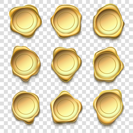 Gouden zegel. Elite gouden lakzegels, premium postzegels en postzegel van de betrouwbaarheidsenvelop. Certificaatbadge voor kwaliteitsgarantie, insignes voor waxen van postgoedkeuring. Vector illustratie geïsoleerde symbolen set
