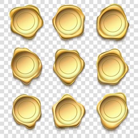 Złota pieczęć. Elitarne złote pieczęcie woskowe, znaczki premium i niezawodny znaczek pocztowy kopertowy. Odznaka z certyfikatem gwarancji jakości, woskowana insygnia akceptacji poczty. Wektor ilustracja na białym tle zestaw symboli